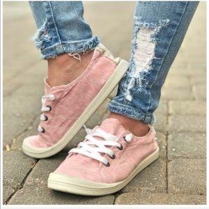 Pink Canvas Slip On Comfort Sneakers
